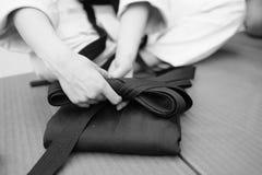 Het lagere deel van de kleren van hakama Aikido Stock Foto