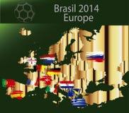 Het land Europa van Brazilië 2014 Royalty-vrije Stock Afbeeldingen