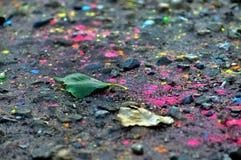 Het land met multicolored verf wordt bestrooid die Royalty-vrije Stock Foto