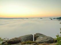 Het land van de de herfstochtend Diep nevelig valleihoogtepunt van ochtend zware bosjes van blauwe oranje mist Zandsteenpieken va Stock Afbeeldingen