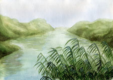 Het land van het moeras - waterverf Royalty-vrije Stock Foto's