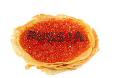 Het land van Rusland met kaviaar Stock Afbeeldingen