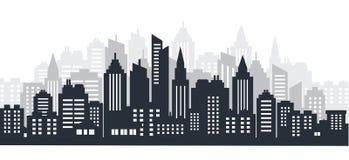 Het land van het stadssilhouet scape Het landschap van de stad Het landschap van de binnenstad met hoge wolkenkrabbers De Overhei royalty-vrije stock foto's