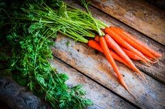 Het landbouwbedrijf hief organische wortelen op houten achtergrond op Stock Fotografie