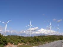 Het landbouwbedrijf van de wind in platteland Stock Afbeeldingen