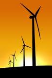 Het Landbouwbedrijf van de Wind van de zonsondergang Stock Foto's