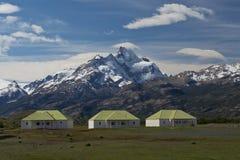 Het landbouwbedrijf van Estancia Cristina in Los Glaciares Nationaal Park stock afbeelding