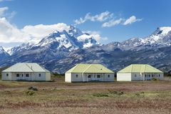Het landbouwbedrijf van Estancia Cristina in Los Glaciares Nationaal Park Patagonië, Argentinië stock afbeelding