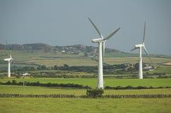 Het landbouwbedrijf van het land windfarm stock foto's