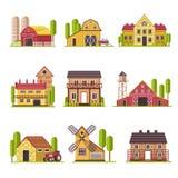 Het landbouwbedrijfhuis met korrel en veevoederschuur of het vee drijft vector geplaatste beeldverhaal vlakke pictogrammen bijeen stock illustratie