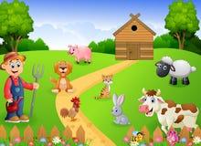 Het landbouwerswerk in het landbouwbedrijf stock illustratie
