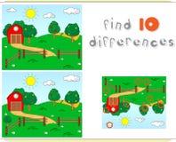 Het landelijke landschap met schuur, drijft, fruit-bomen en gebieden bijeen educ vector illustratie