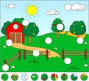 Het landelijke landschap met schuur, drijft, gebieden en fruitbomen bijeen Compl stock illustratie