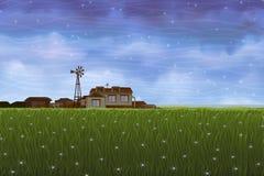 Het landelijke landschap van de zomer Stock Afbeeldingen