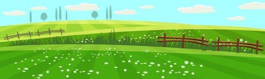 Het landelijke platteland van het de lentelandschap met landbouwbedrijfgebied met groen gras, bloemen, bomen Landbouwgrond Openlu royalty-vrije illustratie