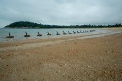 Het landen bescherming op een strand in Mashan op Kinmen-Eiland, Taiwan royalty-vrije stock fotografie