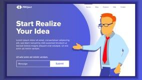 Het landen de Vector van de Websitepagina Bedrijfswebsite Web-pagina Het malplaatje van het ontwerp Bereik het doel schenking Bed royalty-vrije illustratie
