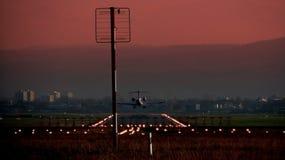 Het landen van het vliegtuig Stock Fotografie
