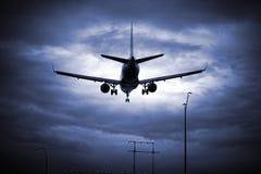 Het Landen van het vliegtuig Royalty-vrije Stock Afbeeldingen