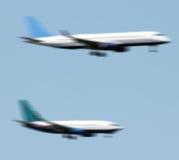 Het landen van vliegtuigen Stock Afbeelding