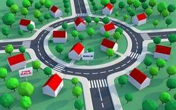 Het landgoed van de huisvesting in de voorsteden Stock Afbeeldingen