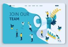 Het Landingspagina van het websitemalplaatje het Isometrische concept van ons team lid wordt, kan gebruiken voor, ui, ux Web, mob royalty-vrije illustratie