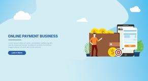 Het landingspagina van het websiteontwerp ui voor mobiele online betalingstechnologie met bedrijfsmensenmensen met rekening en go royalty-vrije illustratie