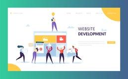 Het Landingspaginamalplaatje van de Webontwikkeling Vlakke mensen stock illustratie