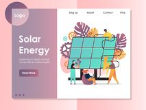 Het landingspaginaontwerpsjabloon van de zonne-energie vectorwebsite vector illustratie