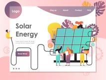 Het landingspaginaontwerpsjabloon van de zonne-energie vectorwebsite stock illustratie
