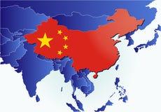 Het landkaart van China met vlag Stock Afbeeldingen