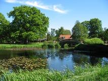 Het landlandschap van de zomer met vijver Royalty-vrije Stock Afbeeldingen