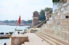 Het landschap beschermde de Rivier van Ganges in India Stock Afbeelding