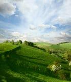 Het landschap en de appelbloesems van de lente Stock Afbeeldingen