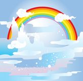 Het landschap en de regenboog van de berg vector illustratie