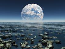 Het landschap met planeet of de aarde met terraformed moo Royalty-vrije Stock Foto