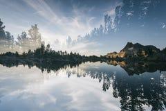 Het landschap in Sierra Nevada, verdubbelt blootgesteld royalty-vrije stock foto
