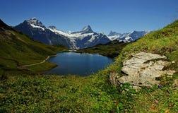 Het landschap van alpen op gebied Jungfrau Stock Afbeelding