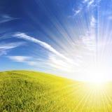 Het landschap van Beautifull met zonnestralen Royalty-vrije Stock Fotografie