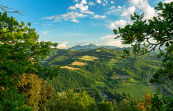 Het landschap van bergheuvels royalty-vrije stock afbeeldingen