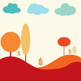 Het landschap van de aard met bomen en wolken stock illustratie