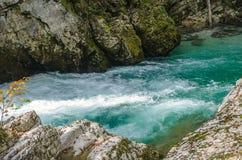 Het landschap van de aardherfst Waterval in Soteska Vintgar Slovenië royalty-vrije stock afbeelding