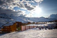Het landschap van de Alpen van de winter van Val Thorens. 3 valleien stock afbeelding