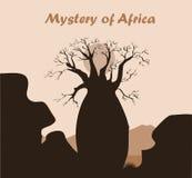 Het landschap van de baobabboom met rots en bergen Baobabsilhouet Afrikaanse geheimzinnigheid achtergrond Royalty-vrije Stock Afbeeldingen