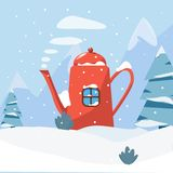 Het landschap van de Beautefulwinter vector illustratie
