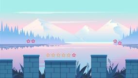 Het Landschap van de beeldverhaalaard, naadloze achtergrond voor spelen mobiele toepassingen en computers Het schrijven royalty-vrije illustratie