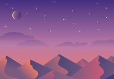 Het landschap van de beeldverhaalwoestijn, heuvels en bergensilhouetten Royalty-vrije Stock Afbeelding