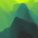 Het landschap van de berg Bergachtig terrein Bergontwerp Vectorsilhouetten van Bergenachtergronden Zonsondergang Stock Afbeelding
