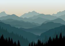 Het landschap van de berg bij dageraad royalty-vrije illustratie