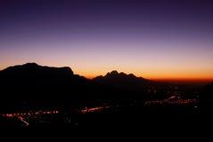 Het landschap van de berg bij nacht royalty-vrije stock fotografie